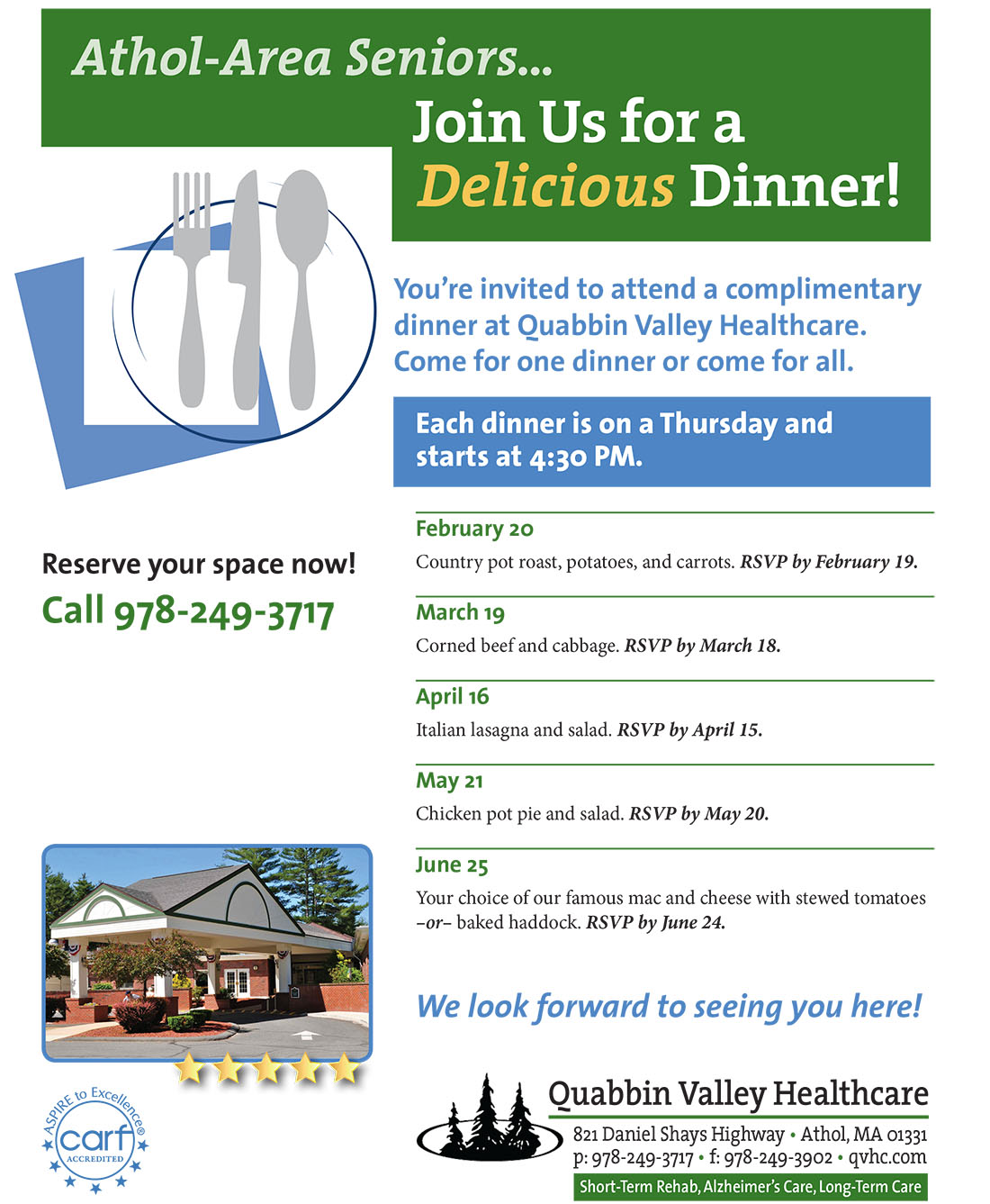 Join us for a delicious complimentary dinner!